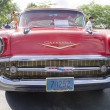 Stock Photo: Two Door 57 Chevy Red Front View