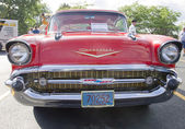 Two Door 57 Chevy Red Front View — Stock Photo
