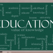 Education Word Cloud Concept on a blackboard — Stock Photo