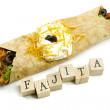 Fajita and Wooden Blocks — Stock Photo