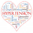 Hypertension heart shaped word cloud concept - Stock Photo