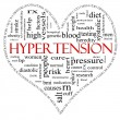 Black and Red Hypertension heart shaped word cloud concept — Stock Photo