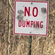 No Dumping Sign with Gun Shot Holes — Stock Photo #11929962