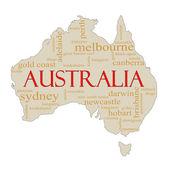 Australia Word Cloud Map — Stock Photo