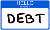 Hello my name is DEBT — Stock Photo