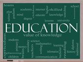 Concepto de educación palabra cloud en una pizarra — Foto de Stock