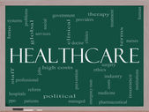 Healthcare word cloud on blackboard — Stock Photo