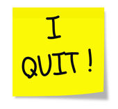 I Quit on a yellow sticky pad. — Stockfoto