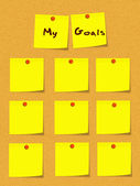My Goals Yellow Sticky Notes on Bulletin Board — Stock Photo