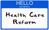 Hallo is mijn naam gezondheidszorghervorming — Stockfoto