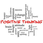 Positive Thinking Word Cloud Concept in Red Caps — Stock Photo