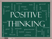 Positive Thinking Word Cloud Concept on a Blackboard — Stock Photo