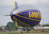 Goodyear Blimp readying for flight side view — Stock Photo