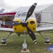 Yellow Cirrus R22 Plane Prop View — Stock Photo
