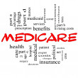 Stock Photo: Medicare Word Cloud Concept in Red Caps
