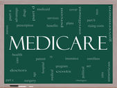 Medicare Word Cloud Concept on a Blackboard — Stock Photo