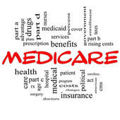 Medicare Word Cloud Concept in Red Caps — Stock Photo