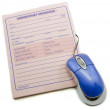 Important message memo pad and computer mouse — Stock Photo #12154228