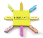 Insurance Concept on Arranged Sticky Notes — Foto Stock