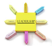 Leadership Concept on Arranged Sticky Notes — Stock Photo