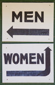 Men and Women Bathroom direction signs — Stock Photo