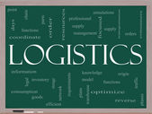 Logistics Concept on a blackboard — Stock Photo