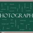 Photography word cloud concept on a blackboard — Stock Photo #12193300