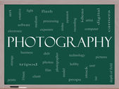 Photography word cloud concept on a blackboard — Stock Photo