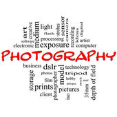Photography word cloud concept black and red — Stock Photo