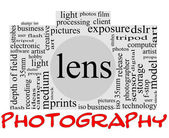 Photography word concept in camera shape — Stock Photo