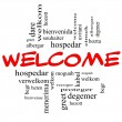 Welcome Foreign Language Word Cloud in Red & Black — Stok fotoğraf