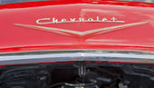 1957 Chevy Convertible Hood Chevrolet Name — Stock Photo