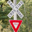 Stock Photo: Yield at Railroad Crossing