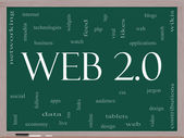Web 2.0 Word Cloud Concept on a Blackboard — Stock Photo