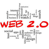 Web 2.0 Word Cloud Concept in red & black — Stock Photo