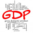 GDP Word Cloud Concept in Red & Black — Stock Photo