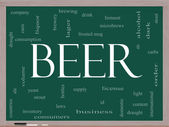 Beer Word Cloud Concept on a Blackboard — Stock Photo