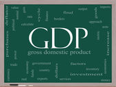 GDP Word Cloud Concept on a Blackboard — Stock Photo