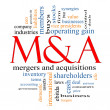 M & A (Mergers and Acquisitions) Word Cloud Concept — Stock Photo