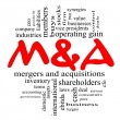 Stock Photo: M & A (Mergers and Acquisitions) Word Cloud Concept in Red & Black