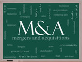 M & A (Mergers and Acquisitions) Word Cloud Concept on a Blackboard — Stock Photo