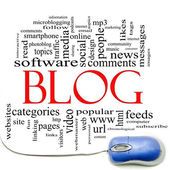 Blog Word Cloud and Mouse — Stock Photo