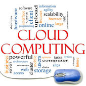 Cloud Computing Word Cloud and Mouse — Stock Photo