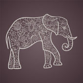 Elephant with a floral pattern — Stock Vector