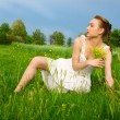 Stock Photo: Young woman in the field