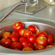 Tomatoes in a sink with water drops — Stock Photo