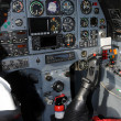 Cockpit interior view of modern propeller airplane — Stock Photo