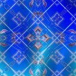 Photo: Colored patterns on blue background