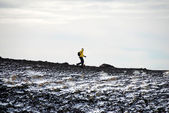 Jogger On Mount Etna — Stock Photo