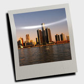 Polaroid slide with city — Stockfoto
